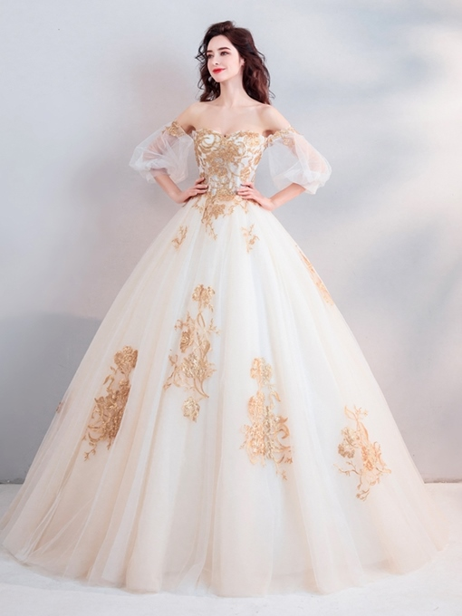 Ericdress Ball Gown Floor-Length 3/4 Length Sleeves Appliques Quinceanera Dress 2019