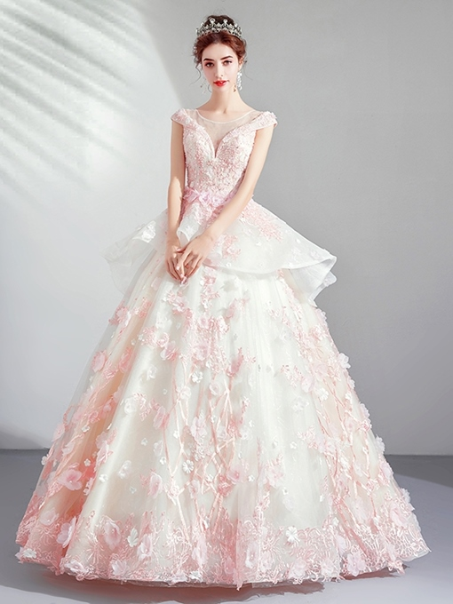 Ericdress Ball Gown Floor-Length Cap Sleeves Scoop Quinceanera Dress 2019
