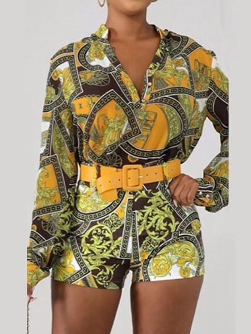 Ericdress African Fashion Belt Geometric Single-Breasted Women's Suit Shirt And Short Two Piece Sets