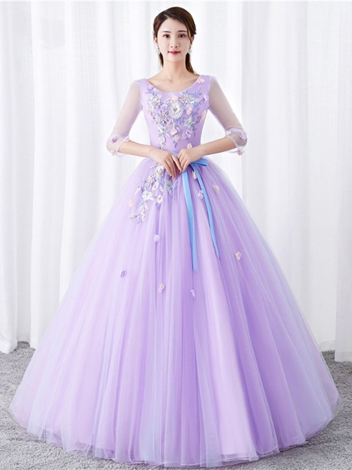 Ericdress Ball Gown 3D Flowers Quinceanera Dress 2019