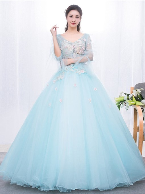Ericdress Floor-Length Long Sleeves V-Neck Ball Gown Quinceanera Dress