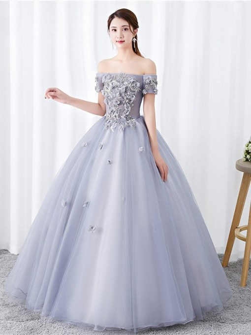 Ericdress Off-The-Shoulder 3D Flowers Ball Gown Quinceanera Dress 2019