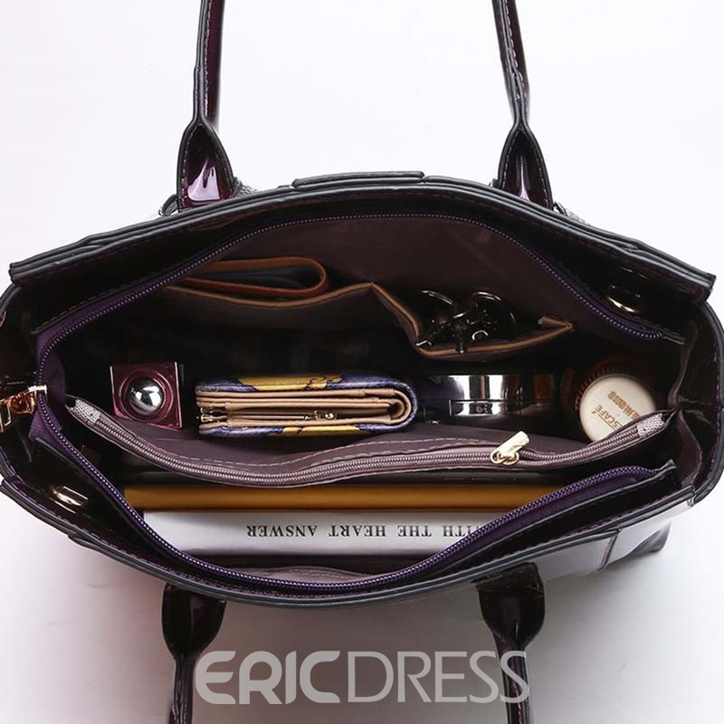Ericdress Serpentine PU Patchwork Square Tote Bag