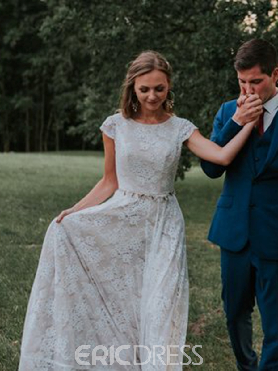 Ericdress Cap Sleeves Lace Country Wedding Dress 2019
