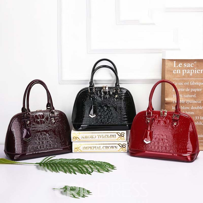 Ericdress Plain Embossing PU Shell Handbag