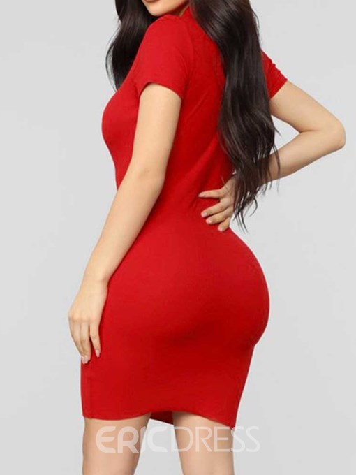 Ericdress Bodycon Short Sleeve Polo Neck Above Knee Casual Dress