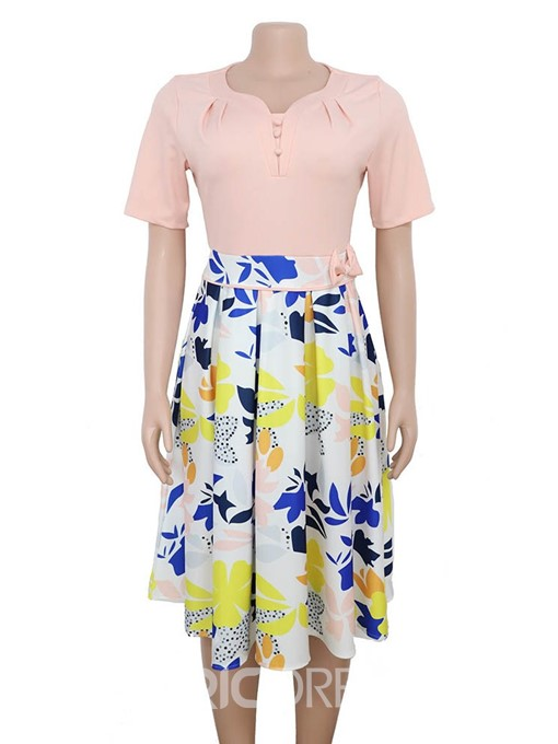 Ericdress Plus Size A-Line Patchwork Color Block Bowknot Short Sleeve Dress