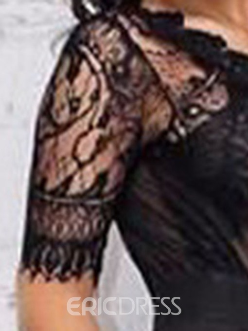 Ericdress Black Lace See Through Sexy Slim Jumpsuit