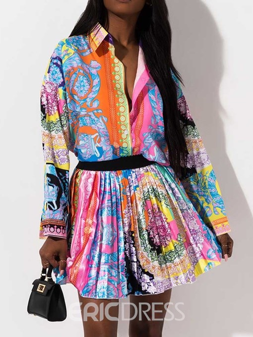 Ericdress Print Pleated Floral Lapel Pleated Shirt and Skirt Women's Two Piece Sets