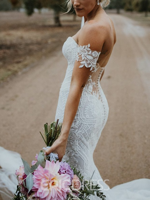 Ericdress Sweetheart Lace Appliques Mermaid Wedding Dress