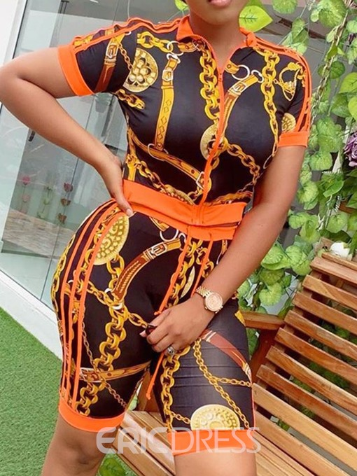 Ericdress African Fashion Geometric Print Zipper Women's Suit T-Shirt And Shorts Two Piece Sets