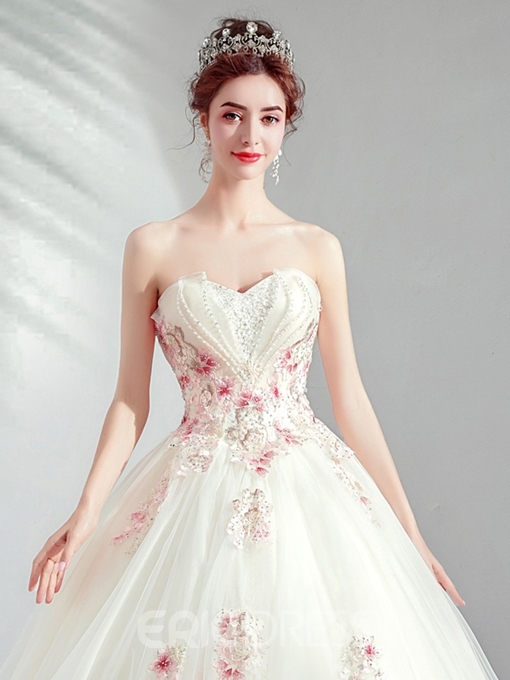 Ericdress Floor-Length Ball Gown Appliques Sleeveless Quinceanera Dress