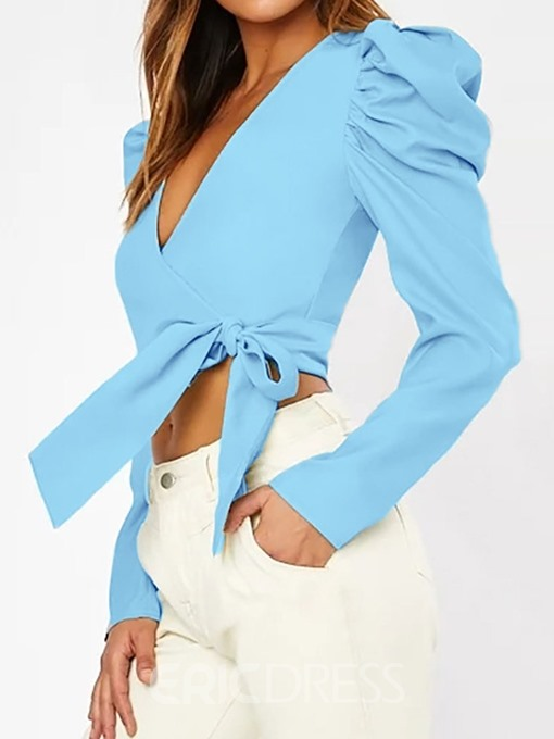 Ericdress Bowknot V-Neck Lace-Up Short Fashion Blouse