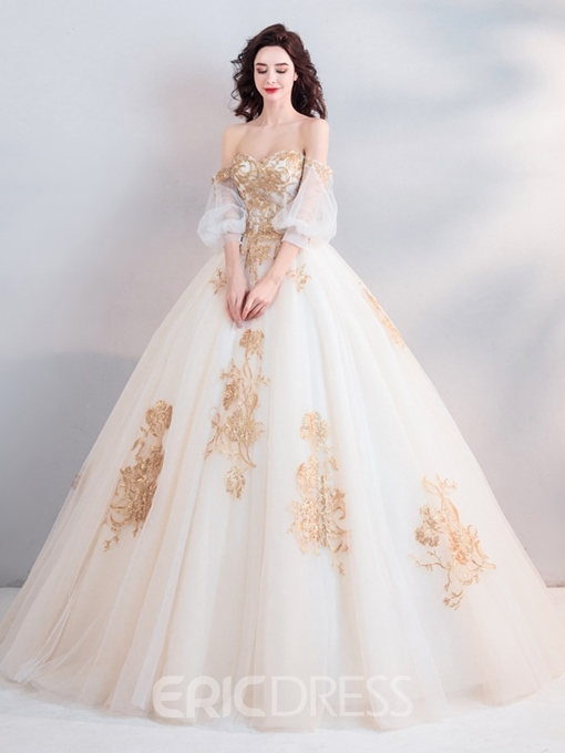 Ericdress Ball Gown Floor-Length 3/4 Length Sleeves Appliques Quinceanera Dress