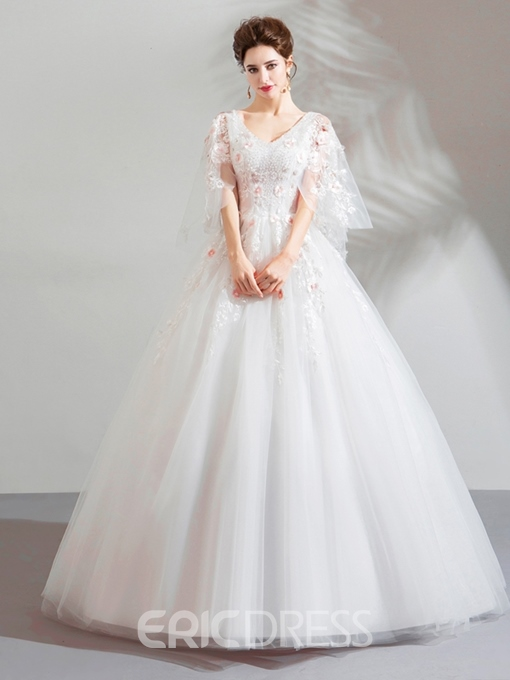Ericdress V-Neck Ball Gown Beading Floor-Length Quinceanera Dress