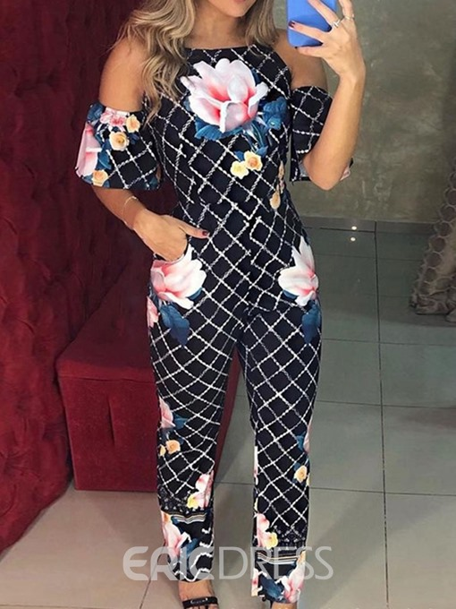 Ericdress Floral Plaid Cold Shoulder High Waist Jumpsuit
