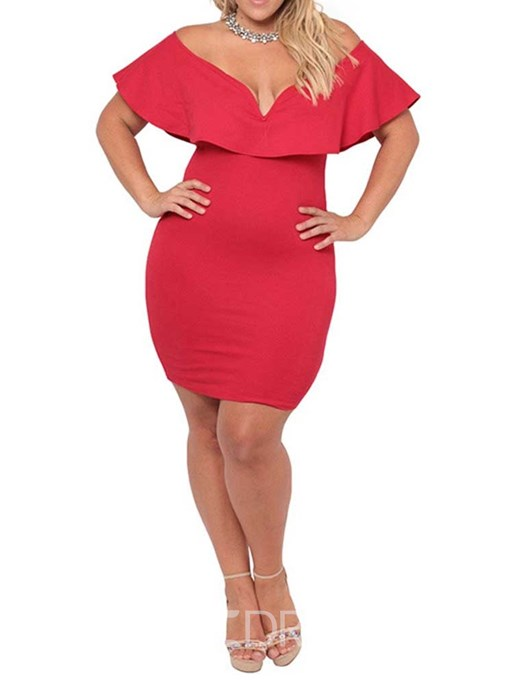 Ericdress Plus Size Bodycon Plain Short Sleeve Above Knee Dress
