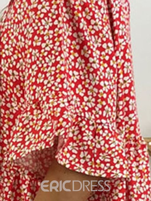 Ericdress Floral Casual Above Knee Half Sleeve Pleated Summer Dress