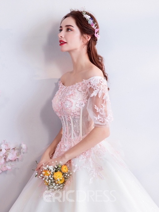 Ericdress Off-The-Shoulder Short Sleeves Ball Gown Appliques Quinceanera Dress