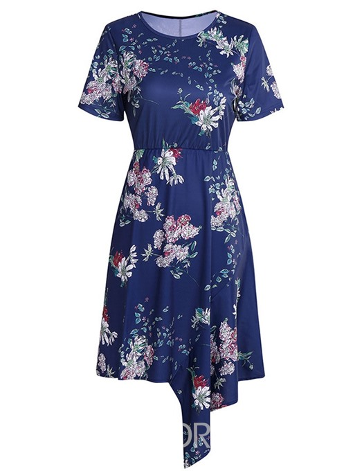 Ericdress Print Asymmetrical Round Neck Short Sleeve Above Knee Regular Dress
