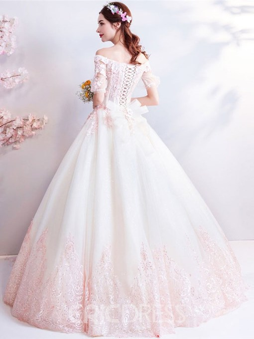 Ericdress Off-The-Shoulder Beading Ball Gown Half Sleeves Quinceanera Dress