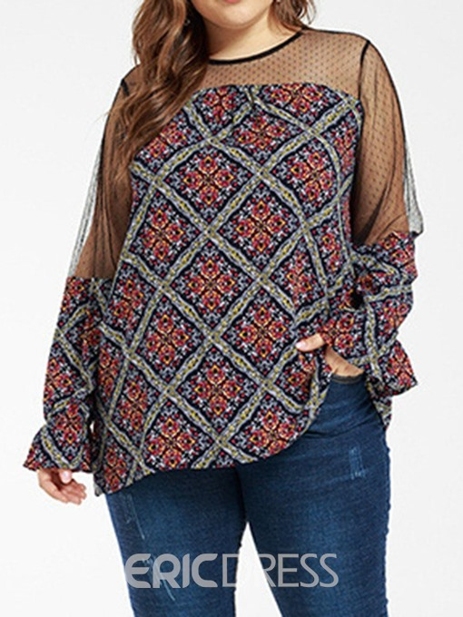 Ericdress Plus Size Plaid Round Neck Mesh Mid-Length Sexy Blouse