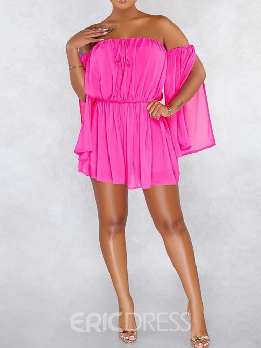 Ericdress Off Shoulde Lace-Up Plain Long Sleeve Pleated Above Knee Summer Dress