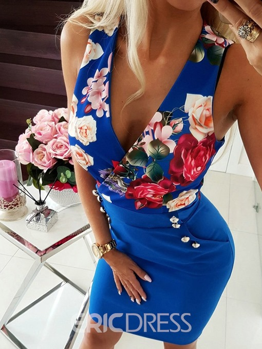 Ericdress Bodycon Floral Patchwork Pocket V-Neck Above Dress