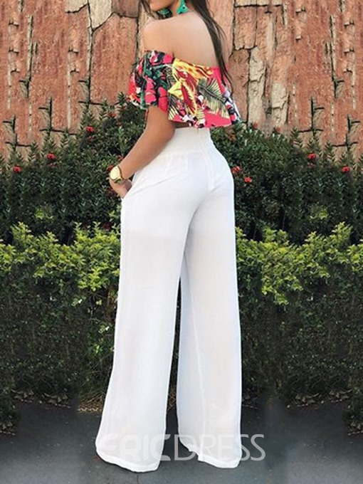 Ericdress Floral Sexy Patchwork Loose Straight Jumpsuit