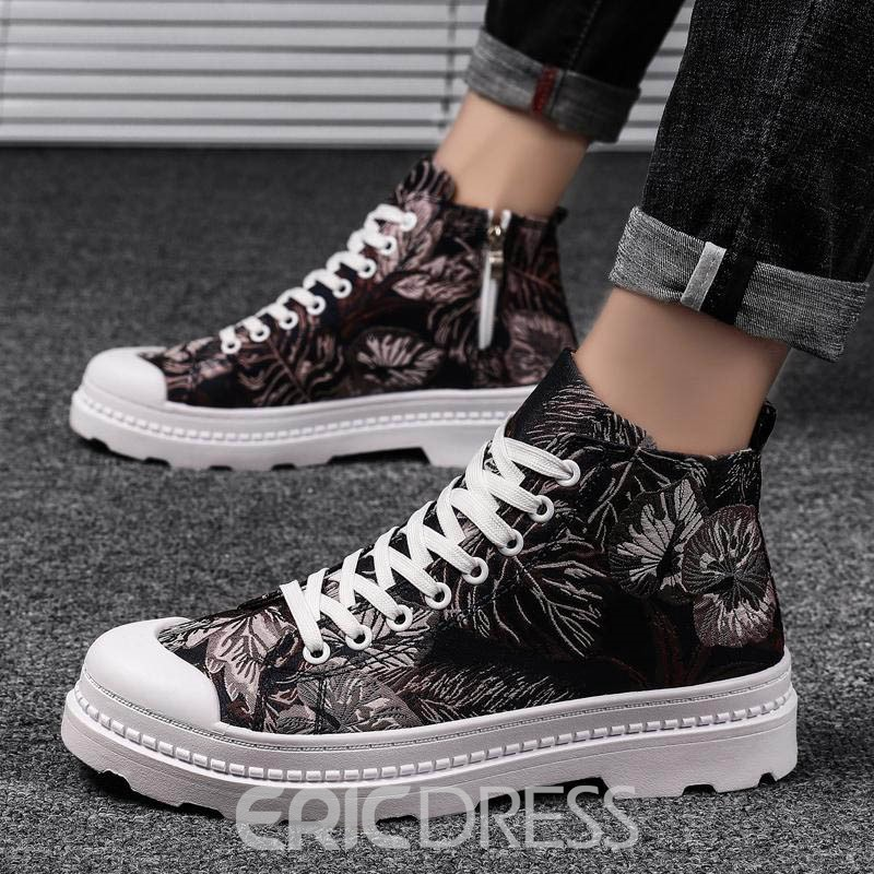 Ericdress High-Cut Upper Color Block Lace-Up Round Toe Men's Skate Shoes