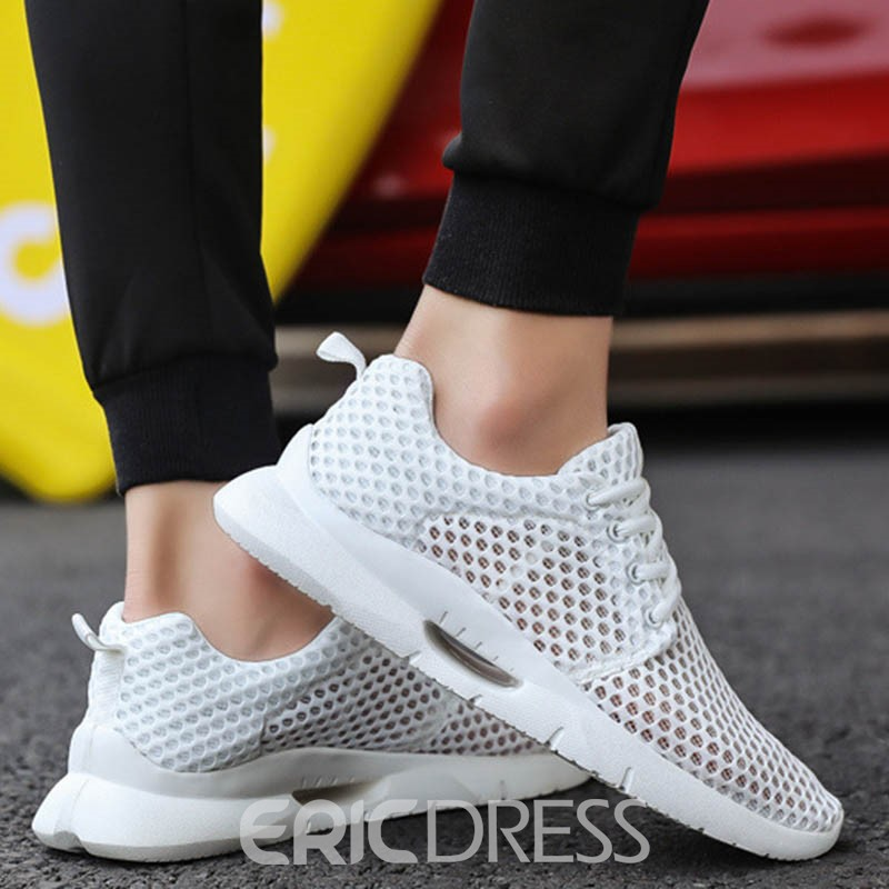 Ericdress Plain Hollow Lace-Up Round Toe Men's Sneakers