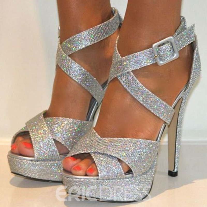 Ericdress Sequin Peep Toe Stiletto Heel Women's Prom Shoes