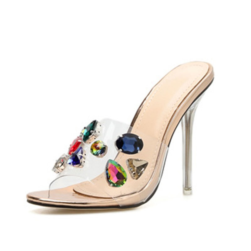 Ericdress PVC Rhinestone Stiletto Heel Color Block Women's Mules Shoes