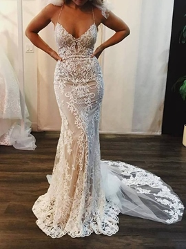 Ericdress Mermaid Beading Spaghetti Straps Lace Wedding Dress 2019