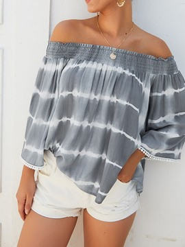 Ericdress Off Shoulder Color Block Print Nine Points Sleeve Pleated Blouse