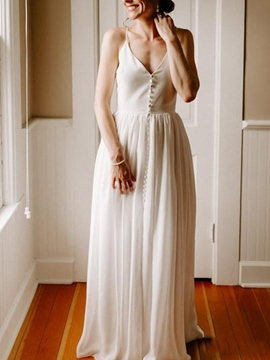 Ericdress A-Line Spaghetti Straps Button Beach Wedding Dress