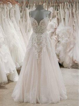 Ericdress Spaghetti Straps Appliques Wedding Dress