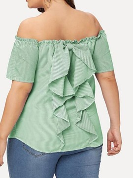 Ericdress Plus Size Off Shoulder Bowknot Short Sleeve Slim Blouse