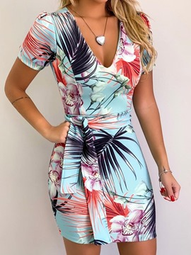 Ericdress Print V-Neck Bodycon Above Knee Lace-Up Summer Dress