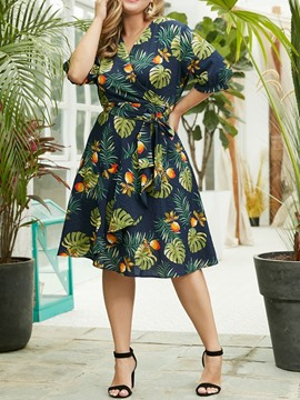 Ericdress Plus Size Print Mid-Calf A-Line Summer Dress
