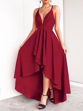 Ericdress Swallowtail Sleeveless Asymmetric Floor-Length Elegant Spaghetti Strap Dress