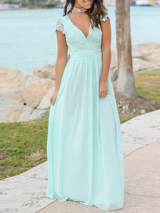 Ericdress Cap Sleeves Backless Lace Bridesmaid Dress 2019