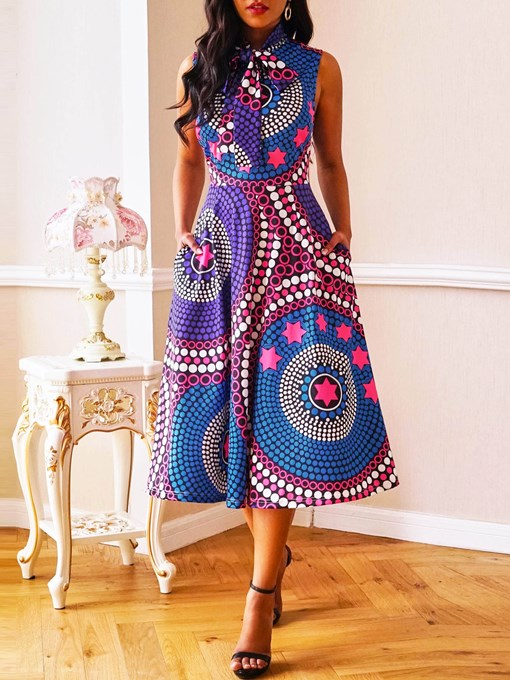 Ericdress Plus Size African Fashion Pocket A-Line Sleeveless Mid-Calf Dress