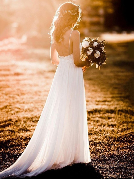 Ericdress Backless Lace Beach Wedding Dress