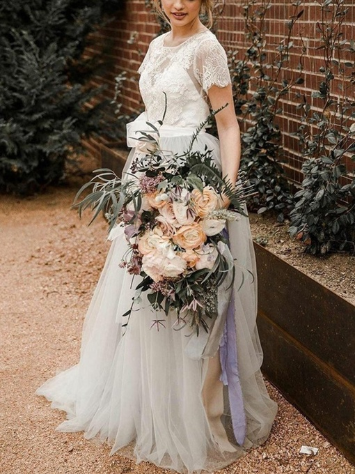 Ericdress Sashes Lace Short Sleeves Outdoor Wedding Dress