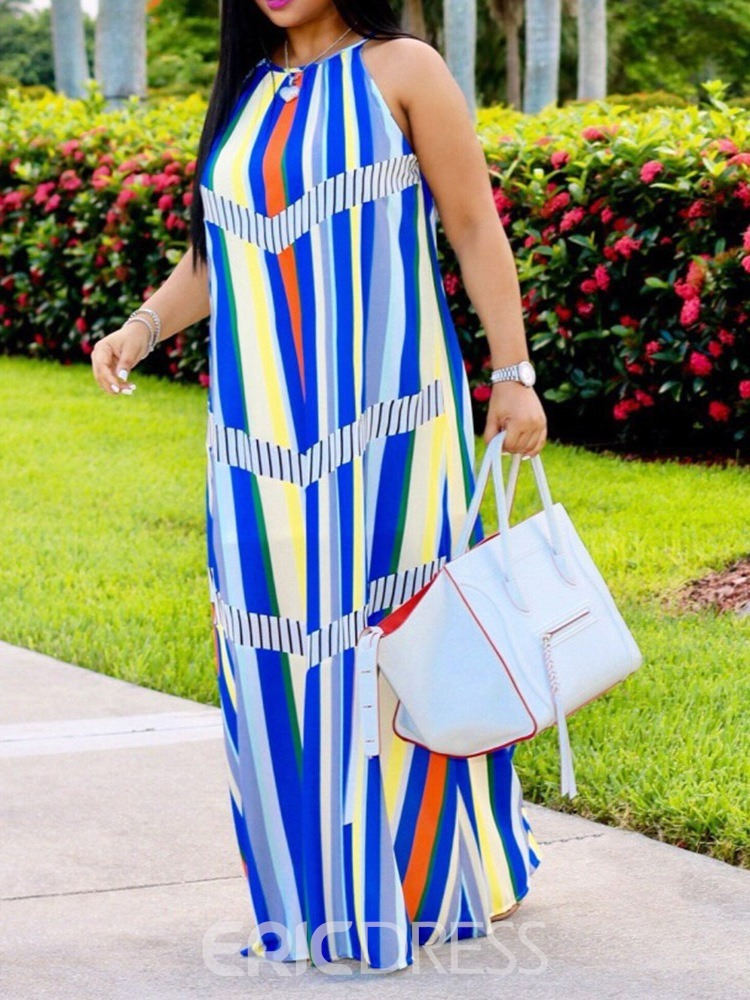 Ericdress Striped Casual Sleeveless Floor-Length High Waist Maxi Dress