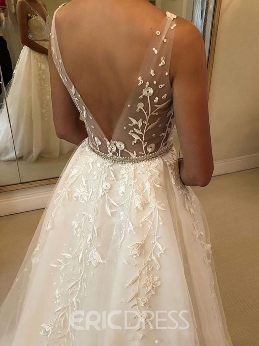 Ericdress A-Line Beading Embroidery Lace Wedding Dress