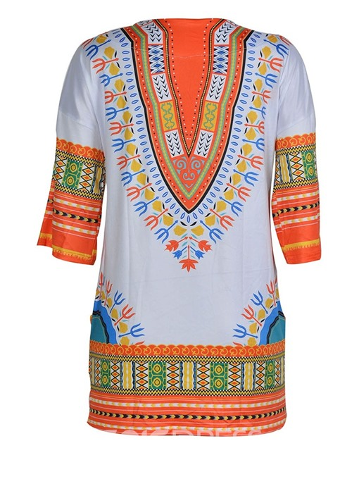 Ericdress African Fashion Print Round Neck Mid-Length Blouse