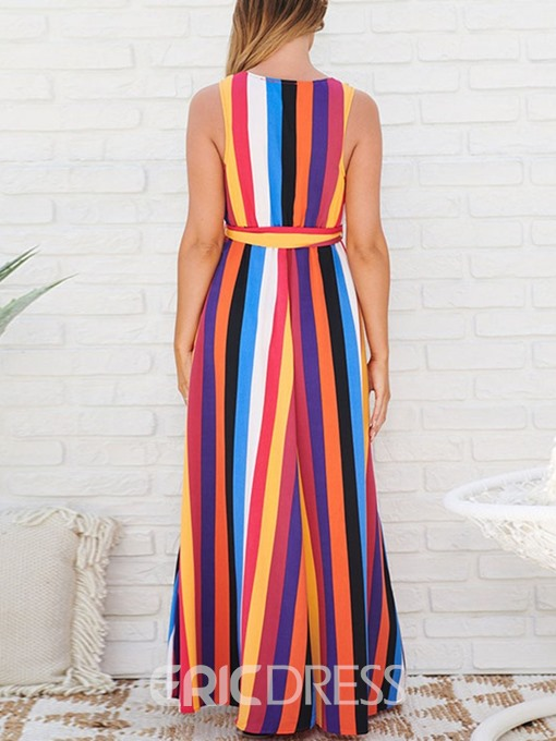 Ericdress Striped Expansion Ankle-Length V-Neck Single Summer Dress