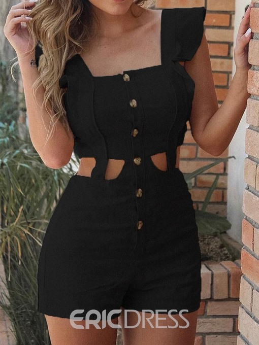 Ericdress Button Plain Sexy Straight High Waist Romper